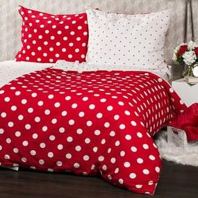 4Home Krepové obliečky Červená bodka, 140 x 220 cm, 70 x 90 cm