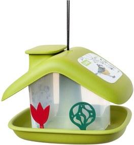 Zelené kŕmidlo pre vtáctvo Plastia Domek