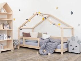 MAXMAX Detská Domčekové posteľ z masívu 160x80 cm LUCKY sa zábranami
