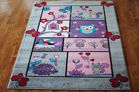 MAXMAX Detský koberec ROZPRÁVKOVÝ LES - sivý