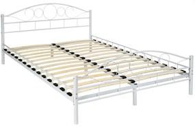 tectake 401725 kovová posteľ dvojlôžková romance vrátane lamelových roštov - bílá, 200 x 140 cm