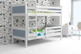 Poschodová posteľ RINO 200x90cm - Biela - Grafitová (BEZ zásuvky)