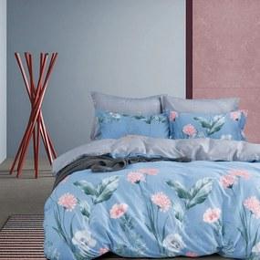 DomTextilu Obojstranné posteľné obliečky v modrej farbe s kvetmi 3 časti: 1ks 160 cmx200 + 2ks 70 cmx80 Modrá 38691-181827