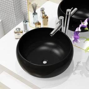 vidaXL Umývadlo, keramika, okrúhle, čierne 40x15 cm
