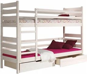 Poschodová posteľ, prírodná sosna/biela, DAREK