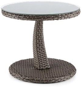 Tabula, odkladací stolík, 50 cm, sklo, polyratan, hliník, dvojfarebný antracit