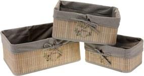 Sada úložných bambusových košíkov, 3 ks