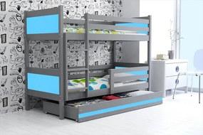 50f64f51b013 BMS Group Poschodová posteľ RINO 190x80cm - Grafitová - Modrá