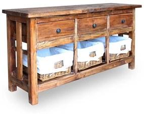 vidaXL Kredenc z pevného recyklovaného dreva, 100x30x50 cm