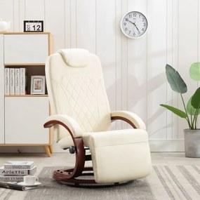 vidaXL Sklápacie TV kreslo, krémovo biele, umelá koža