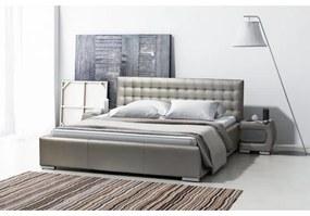 Dizajnové jednolôžko Natal s úložným priestorom šedá eko koža 120 x 200