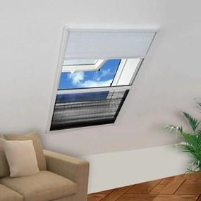 Plisovaná okenná sieťka proti hmyzu s hliníkovým rámom a roletou, 80 x 120 cm