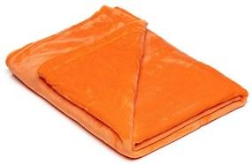 Oranžová mikroplyšová deka My House, 150 × 200 cm