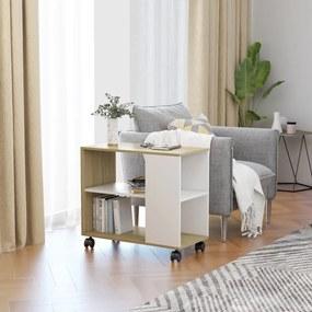 vidaXL Príručný stolík biela a dub sonoma 70x35x55 cm drevotrieska