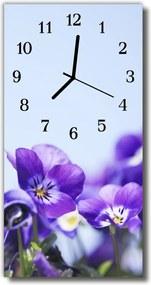 Sklenené hodiny vertikálne  Kvety fialové kvety