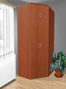 Nabytekmorava Šatníková rohová skriňa do spálne Alfa 21 farba lamina: čerešňa talianská (třešeň italská)