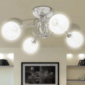 vidaXL Stropná lampa so sklenenými tienidlami ovinutými drôtom na 4 žiarovky G9