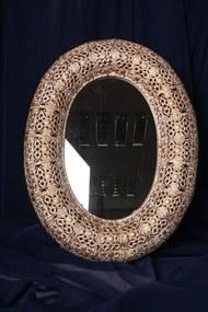 Oválne zrkadlo v kovovom ráme s niklovým povlakom (50x38x5cm) - moderný štýl