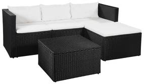 vidaXL 3-dielna záhradná sedacia súprava polyratan čierna a biela