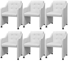 274219 vidaXL Jedálenské stoličky, 6 ks, biele, 59x57.5x86.5 cm (3x243586