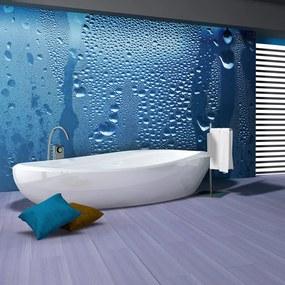 Fototapeta - Vodné kvapky na modrom skle 200x154 + zadarmo lepidlo