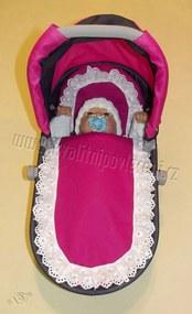 SDS Perinky do kočíka pre bábiky Syto ružová s čipkou 1x 27/40, 1x