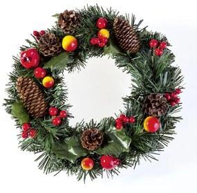 Umelý vianočný veniec s jabĺčkami 30 cm