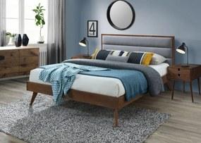 Halmar Dřevěná postel Orlando 160x200 dvoulůžko ořech/šedá