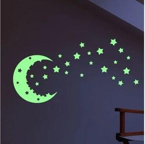 Sada nástenných svietiacach detských samolepiek Ambiance Moon and Stars