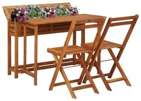 vidaXL Balkóný stôl s kvetináčmi s 2 bistro stoličkami masívne akáciové drevo
