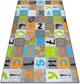 Detský metrážny koberec JUMPY sivý/pomarančový/nebeský - 400 cm