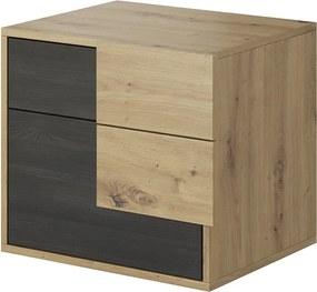TEMPO KONDELA Bafra nočný stolík dub artisan / čierna borovica nórska