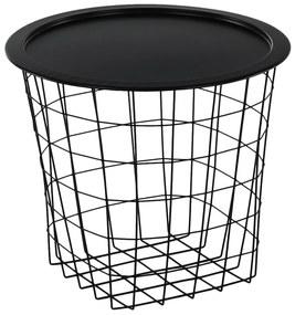 Príručný stolík, čierna, MOKAD