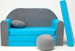 Detská pohovka - šedo-modrá B1 +