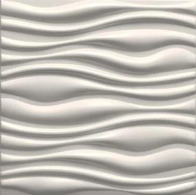 3D panel 0002, rozmer 50 cm x 50 cm, FLOW biely, IMPOL TRADE