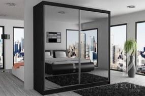 Moderná šatníková skriňa s posuvnými dverami so zrkadlom šírka 133 cm čierny korpus S dojezdem