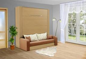 Nabytekmorava Sklápacia posteľ s pohovkou VS 3071P . 200x140 nosnost postele: štandardná nosnosť, farba lamina: buk 381, farba pohovky: nubuk 133 caramel