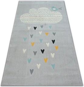 MAXMAX Detský kusový koberec Prší SRDIEČKA - tmavosivý šedá