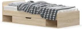 KONDELA Teyo 1S/90 jednolôžková posteľ s úložným priestorom dub sonoma