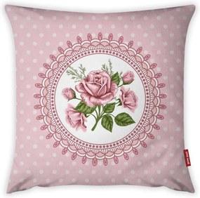 Obliečka na vankúš Vitaus Rustic Vintage Rosa Dos, 43 × 43 cm
