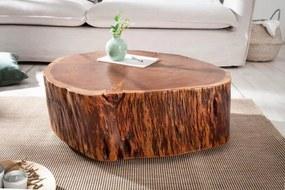 IIG -  Masívny konferenčný stolík GOA 70 cm prírodný, kmeň stromu akácie s kolieskami