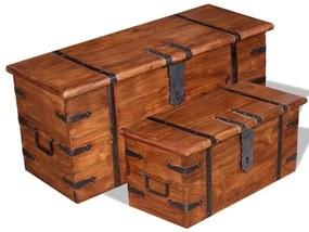 2-dielna sada úložných truhlíc z masívneho dreva