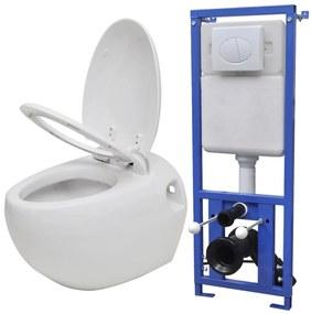 Keramické závesné WC v tvare vajca s podomietkovou nádržou, biele