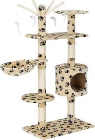 [en.casa]® Škrabací strom pre mačky - 65 x 35 x 130 cm - kremový s čiernym vzorom