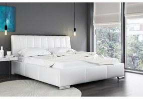 Elegantná posteľ Malone s vysokým čelom a úložným priestorom biela eko koža 200 x 200