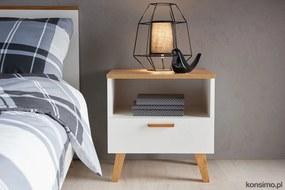 KONSIMO Nočný stolík FRISK zásuvka police dub biely 48 x 50 x 46 cm