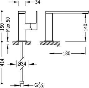 CUADRO - TRES Umývadlová jednopáková batéria ramienko 34 x 10 mm (10620501)
