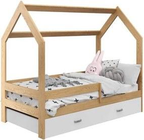 Detská posteľ DOMČEK D3 borovica 80x160 cm Rošt: Bez roštu, Matrac: Bez matraca
