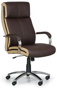 Kožené kancelárske kreslo HALF, pravá koža, hnedá/bežová