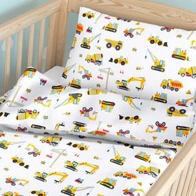 Goldea detské bavlnené obliečky do postieľky - vzor 914 nákladné autá a bagre 90 x 120 a 40 x 60 cm